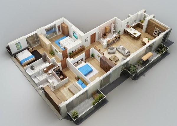 Desain Rumah Minimalis: Desain Rumah Minimalis 1 Lantai 4 Kamar Tidur