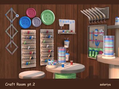 Craft Room Part 2 Швейная мастерская, часть 2 для The Sims 4 Вторая часть ремесленной комнаты. Включает в себя 15 предметов. Имеет 3 цветовые палитры, 4-8 цветовых вариаций для каждого объекта. Предметы в наборе: - два стола - функциональная полка - кресло - декоративное правило - семь настенных декоров - три предмета беспорядка. Автор: soloriya