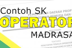 Contoh SK Operator Madrasah Tahun 2018