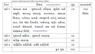 Gujarat Assistant Tribal Department Officer Class III Exam Syllabus and Pattern