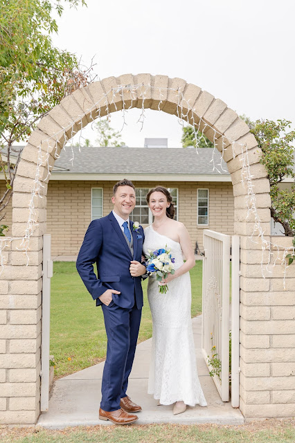 gilbert az bride and groom portrait at a backyard wedding in july