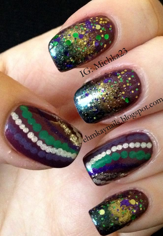 ehmkay nails: Mardi Gras Nails with Red Dog Designs (Here Comes)³ ...