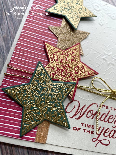 Making Christmas cards with the Tidings and Trimmings Bundle by Stampin' Up! #StampinUp #StampTherapist #TidingsandTrimmings #ChristmasCard
