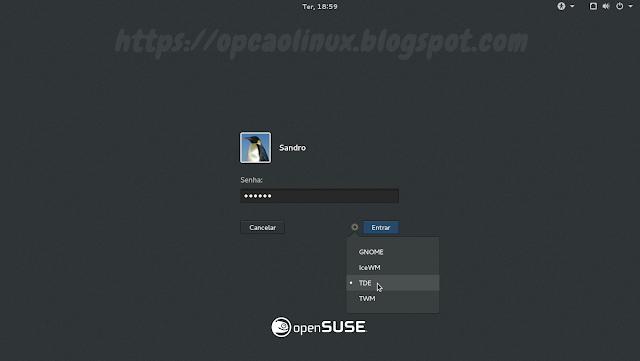 Tela de login do GDM, podendo escolher qual ambiente gráfico iniciar