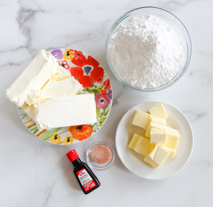 ingredients for coconut cream cheese frosting