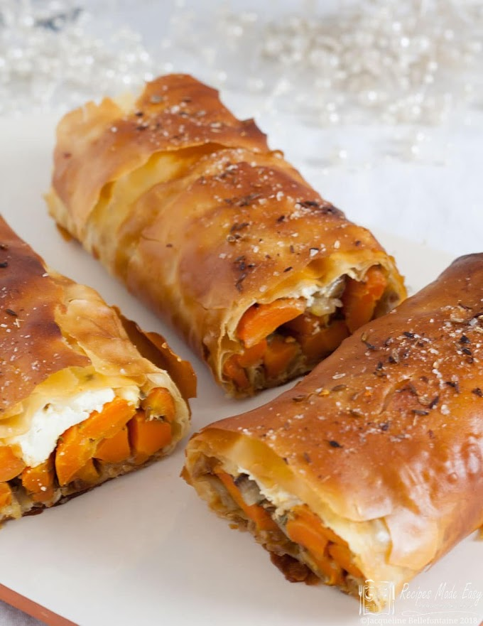 Roasted spiced carrot and Feta Strudel #healthy #foodrecipe