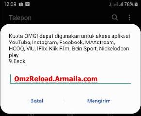 kuota OMG dapat digunakan untuk akses aplikasi Youtube, Instagram, Facebook, MAXstream, HOOQ, VIU, IFLix, Klik Film, Bein Sport, Nickelodeon play