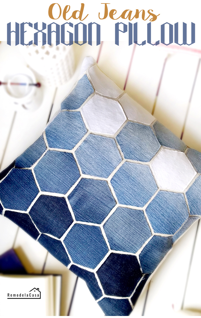 How to make a jean hexagon pillow cover