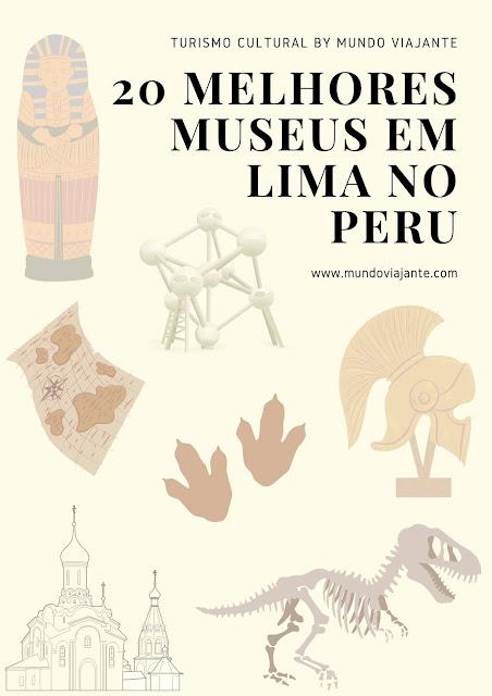 panfleto escrito 20 melhores museus em lima no peru com marcas d'gua de mumias e dinossauros