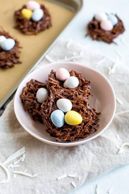 No-Bake Chocolate Coconut Nests | Image courtesy of Eating Bird Food