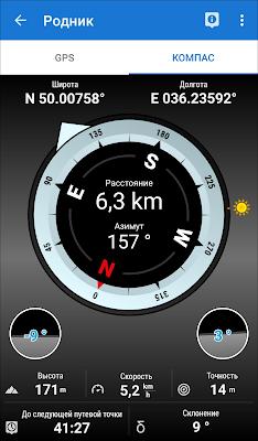 Locus Map - экран с компасом