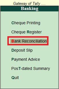 How to see Bank Reconciliation Statement in Tally in Hindi