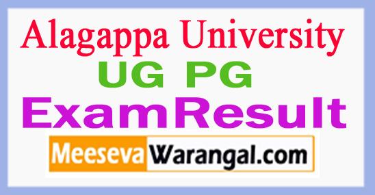 Alagappa University UG PG Exam Result
