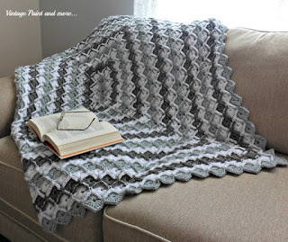 Vintage, Paint and more... crochet afghan done in a grey diamond stripe pattern