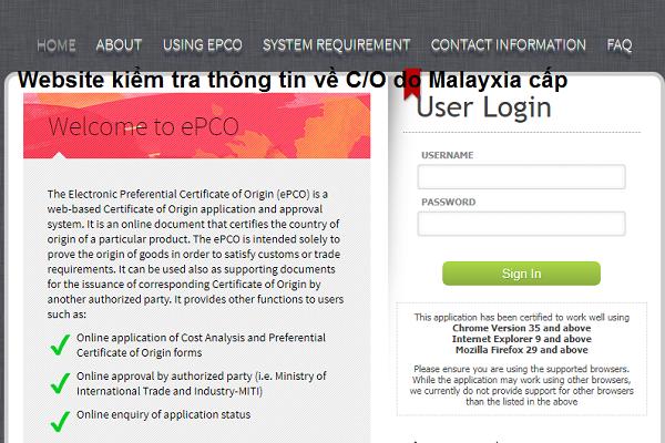 Tra cứu mẫu con dấu và chữ ký điện tử của CO Form D Malaysia