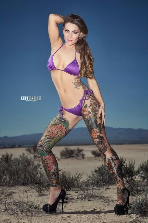 Amanda Bo - Legs Tattoo - Female Models With Tattoos