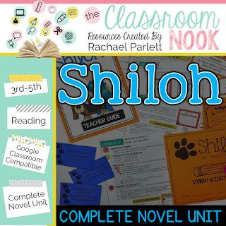 Check out this google classroom compatible novel unit for teaching Shiloh- perfect for grades 3-5
