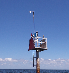 WeatherFlow sensor on a channel marker