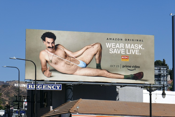 Wear mask Save Live Borat billboard