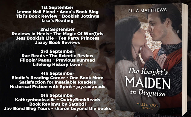 The Knight's Maiden in Disguise by Ella Matthews blog tour banner