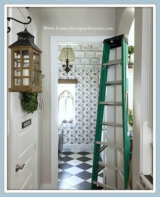Farmhouse Cottage Style Laundry Room Makeover-Peel & Stick Wallpaper-From My Front Porch To Yours