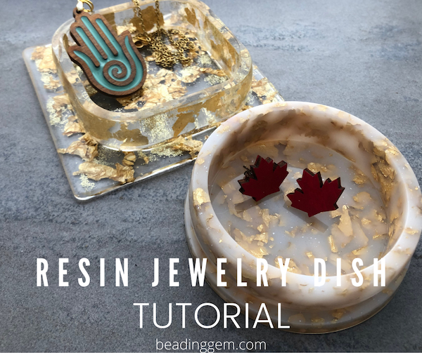 Resin ring dish gold flakes glitter homemade
