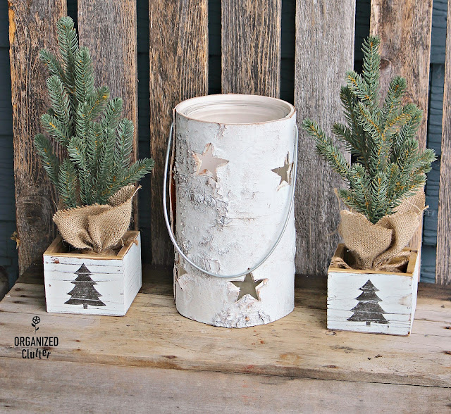 Easy DIY Stenciled Craft Shop Wood Boxes #Michaels #stencil #whitewash #targettree #Christmasdecor #diyChristmas