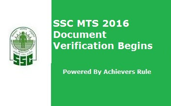 SSC MTS 2016 Document Verification Begins