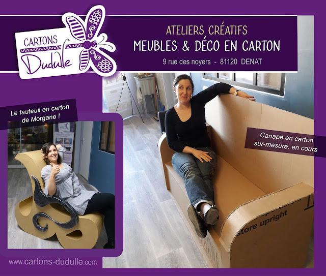 Stages créatifs de création de déco et meubles en carton chez Cartons Dudulle à Denat 81