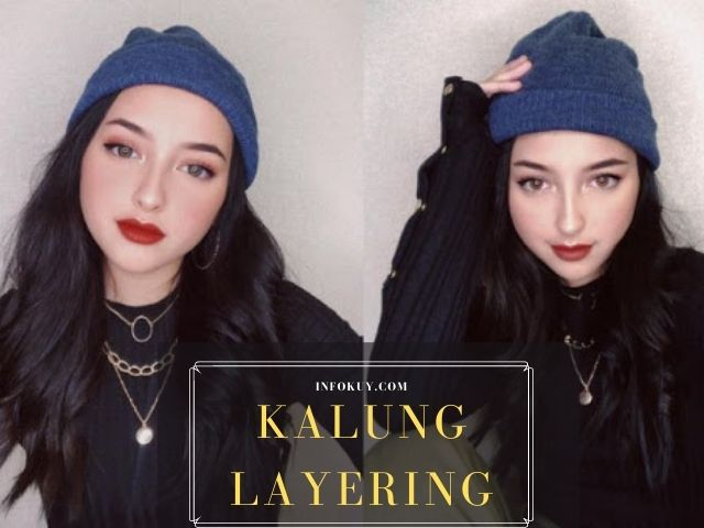 model kalung layering, kalung layering fashion
