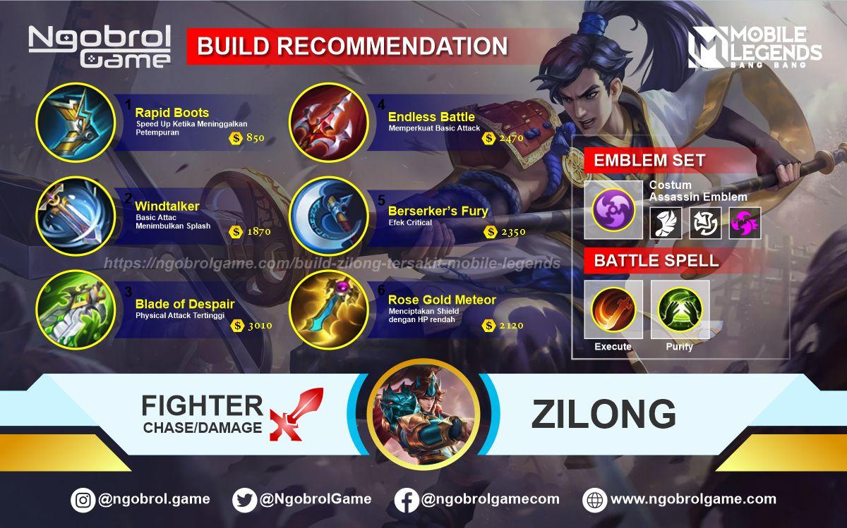 Build Zilong Top Global Tersakit Mobile Legends