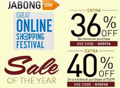 (Last Day) Great Online Shopping Festival by Google: Enjoy Extra 36% Off (Valid on Any Purchase Value) and Extra 40% Off on Cart Value of Rs.2499 at Jabong