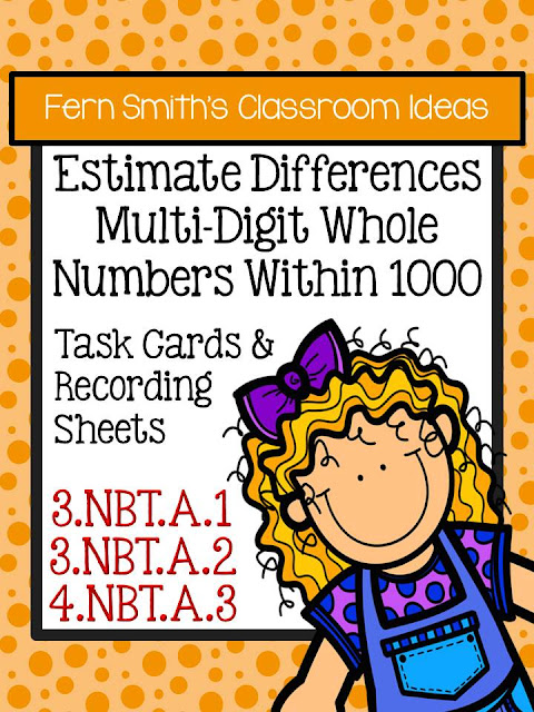 Just Published ~ Fern Smith's Classroom Ideas Rounding to Estimate Differences - Task Cards