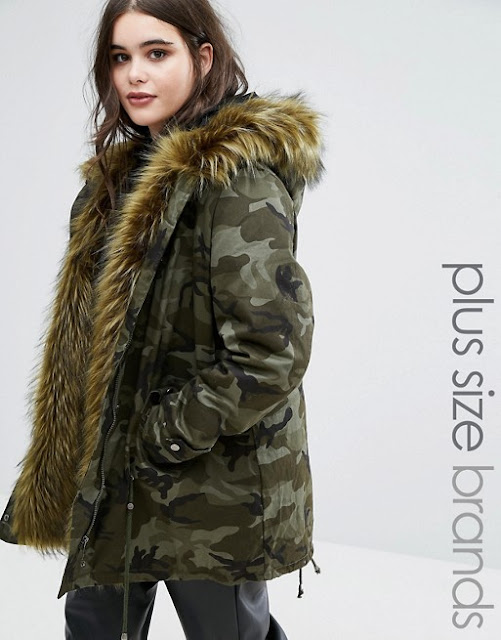plus size camouflage coat, plus size parka coat, alice and you parka,