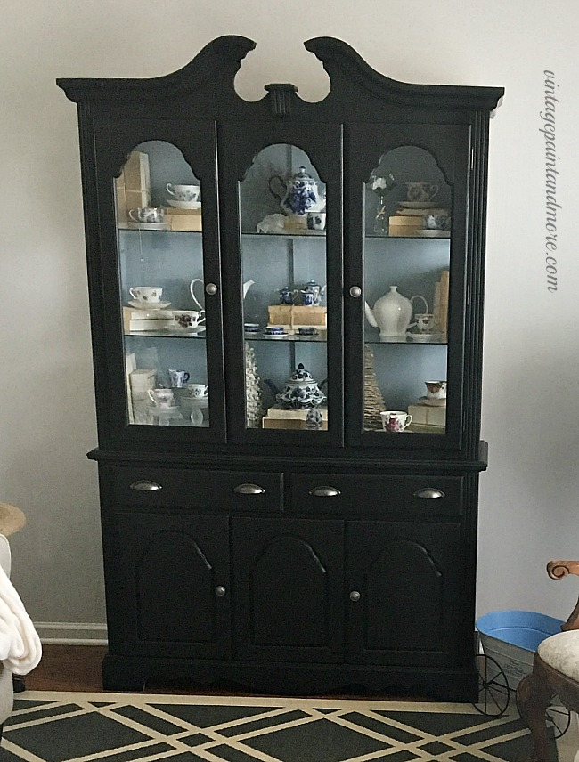 Vintage Paint and more... updating a china cabinet with black chalkboard paint to fit into a modern vintage farmhouse look