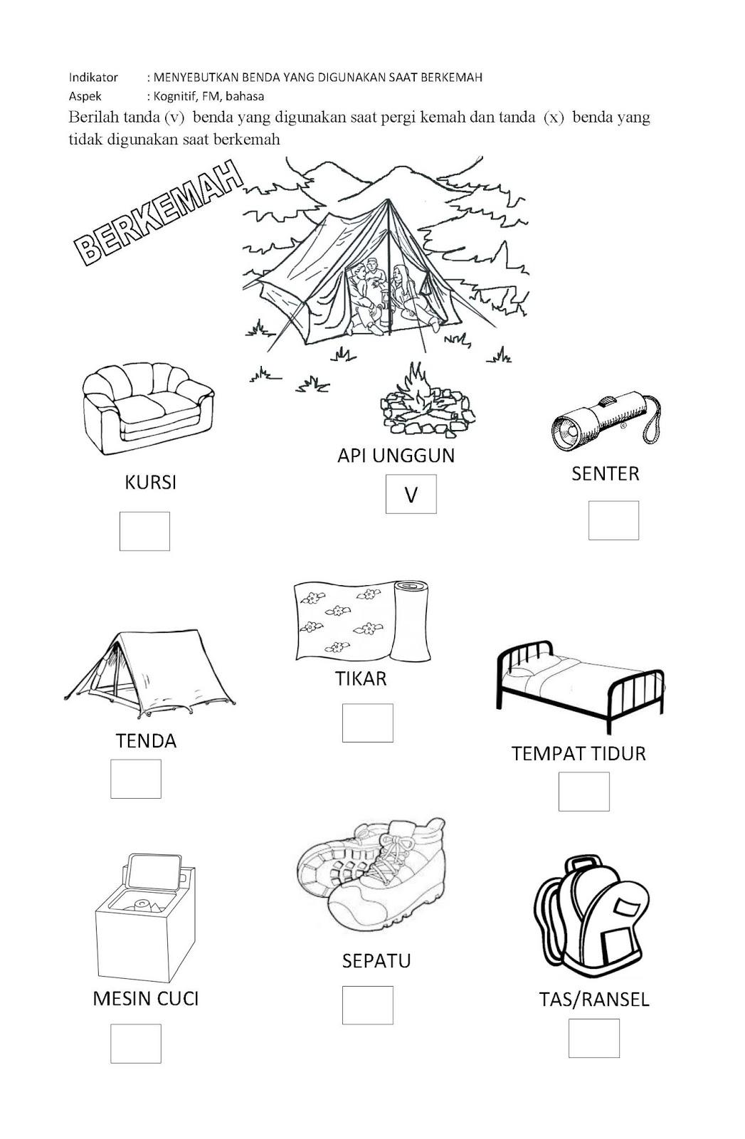 Worksheet Bahasa Indonesia Untuk Anak Tk