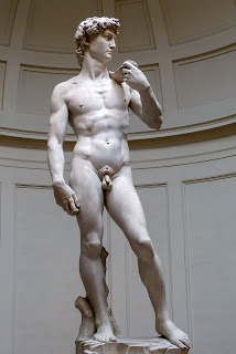Statue of David by Michelangelo, the Renaissance artist that depicts young jewish boy David againts Goliath the giant.