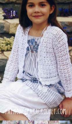 Chaqueta corta con mangas largas crochet para niñas