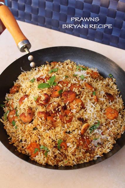 prawns biryani shrimp biryani yummy tasty simple malabar kerala indian biryani recipe biriyani kozhikodan muslim biryani ayeshas kitchen special rice recipes