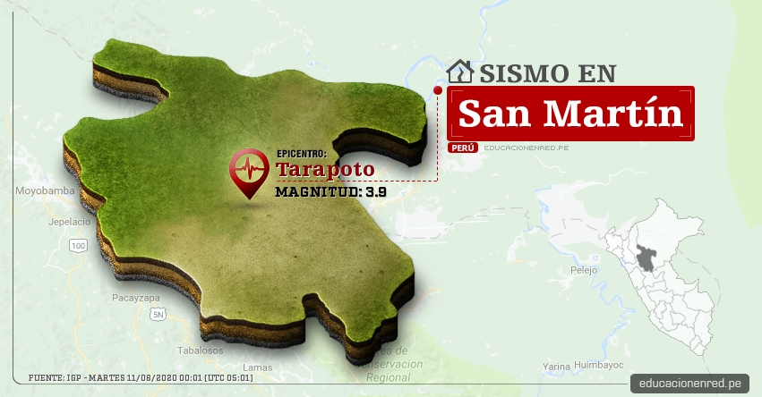 Temblor en San Martín de Magnitud 3.9 (Hoy Martes 11 Agosto 2020) Sismo - Epicentro - Tarapoto - San Martín - IGP - www.igp.gob.pe
