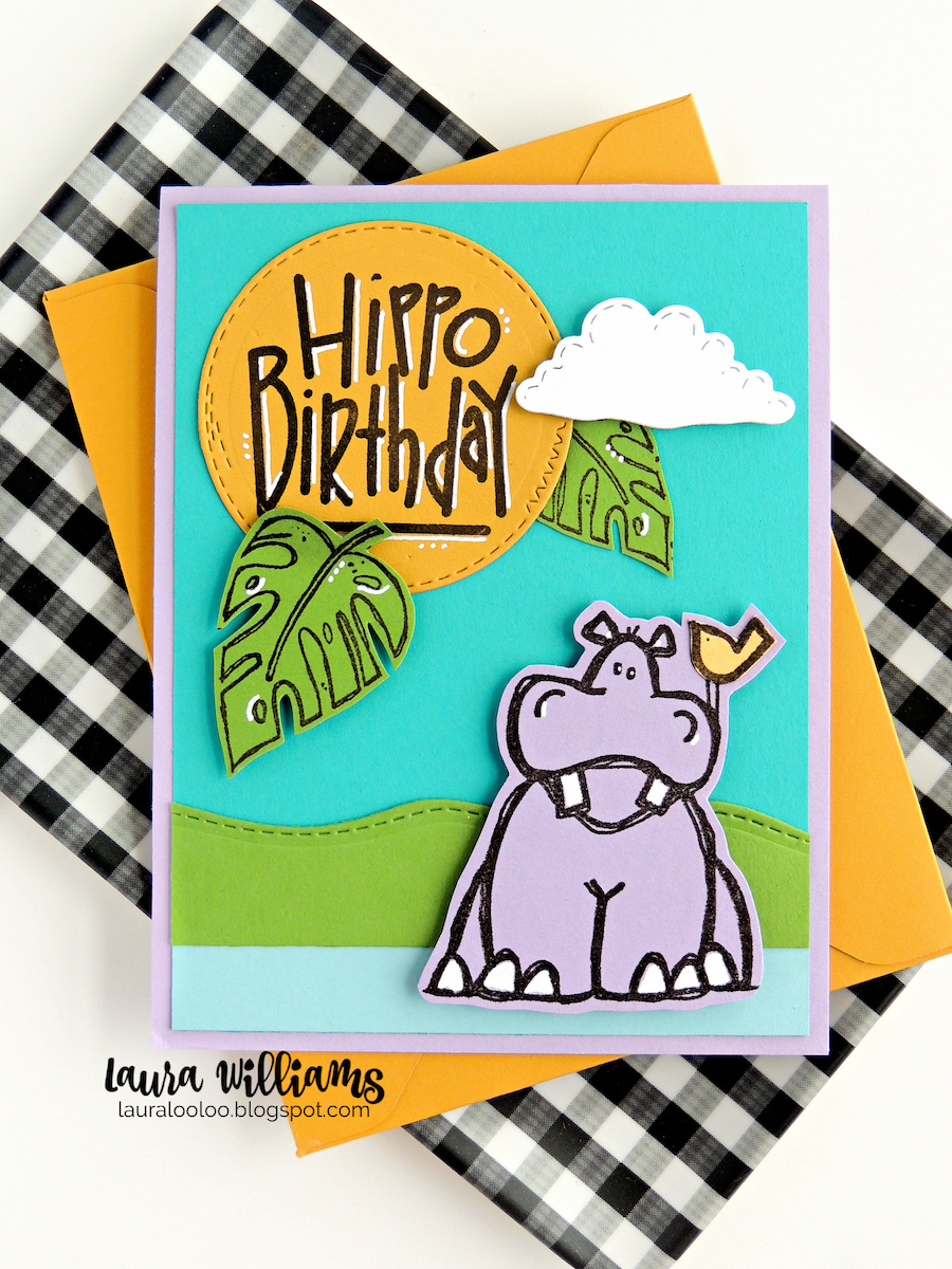The Hippo Birthday stamps are just darling - how cute is that purple hippo? I stamped this guy (from Impression Obsession) and just paper-pieced the little bird, and added white gel pen for a few details. These chunky shapes are pretty easy to fussy cut, and I like the contrast of the hippo and jungle leaves paired with some simple die cut details.