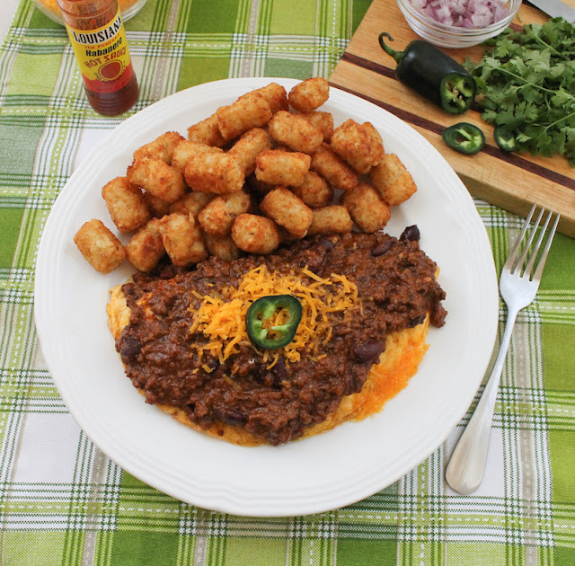 Food Lust People Love: Try my hearty spicy beef chili on top of a fluffy cheese omelet, great for breakfast, lunch or dinner!