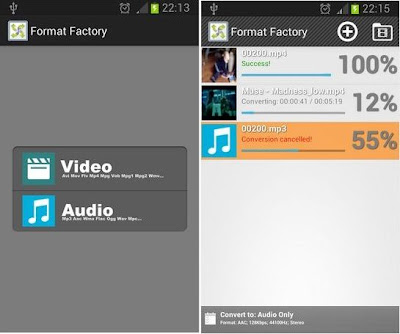 Convert Audios and Videos on Android with Format Factory