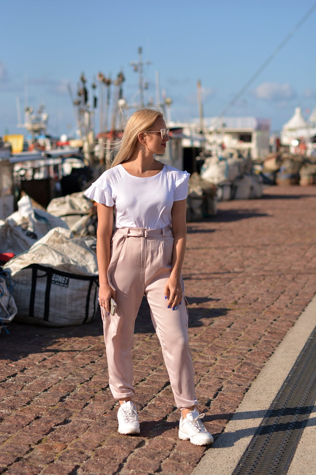 pink Belted Cargo Trousers