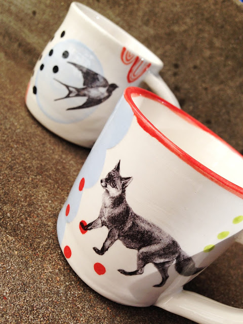Fox mug with polka dots and bird mug