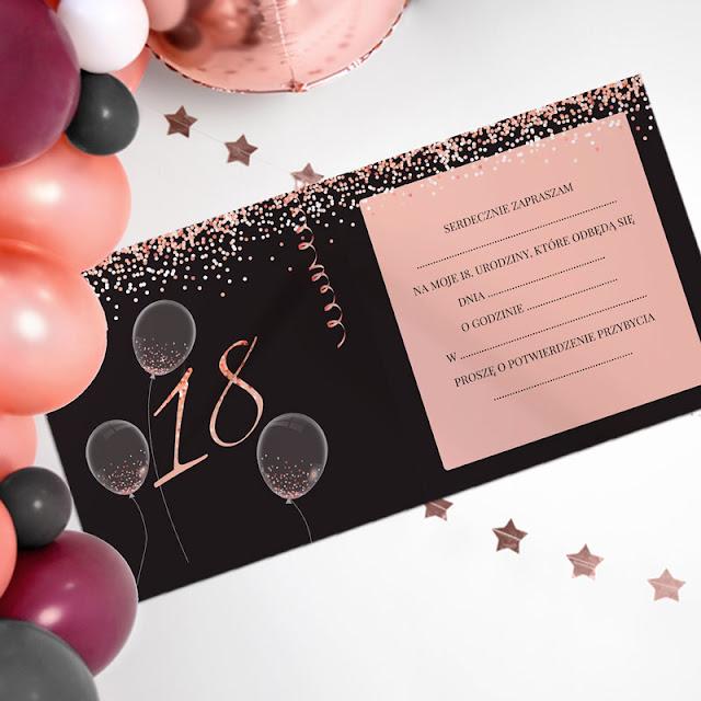 Zaproszenia na 18 urodziny Glamour - wnętrze