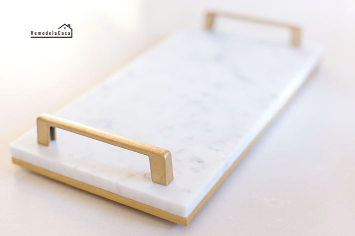 Modern gold and marble tray