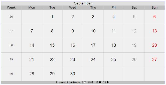 Calendar for September 2020 Sweden