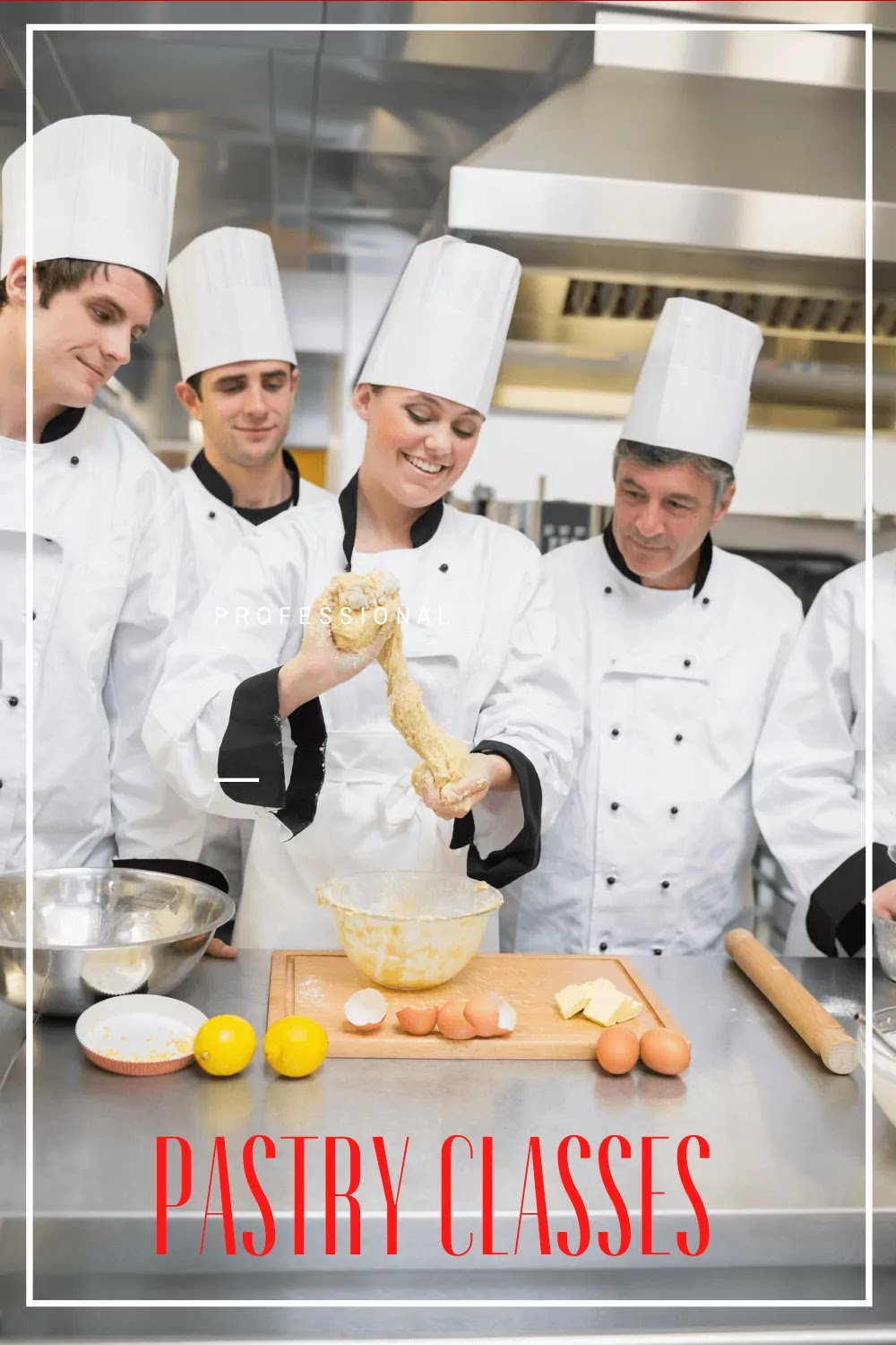4 pastry chefs serving lessons, a table with eggs and cooking supplies