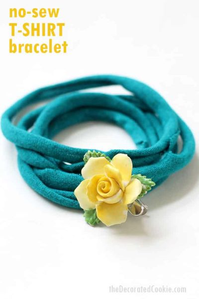 Upcycle your old t-shirts into this easy DIY t-shirt bracelet.